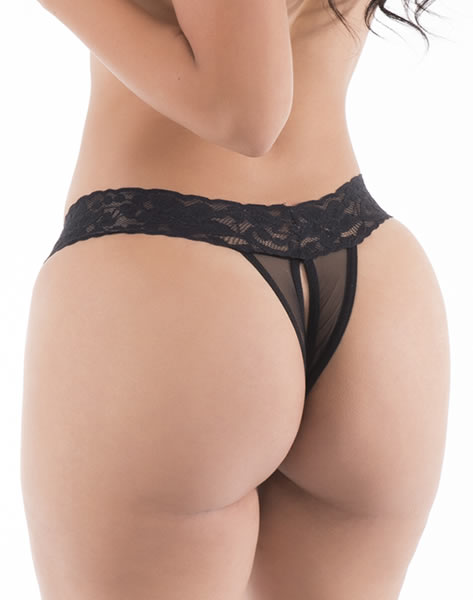 Desire - Hot Flowers G-String - Black