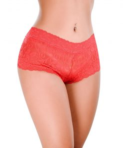 HF013V Boyshorts Delight Lace Red O/S by Hot Flowers