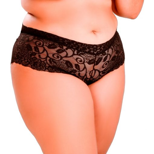 HG006P Boyshorts Delight Lace Black PS by Hot Flowers