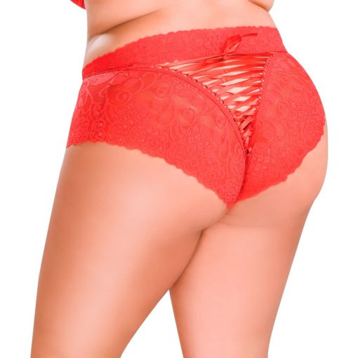 HG006V Boyshorts Delight Lace Red PS by Hot Flowers