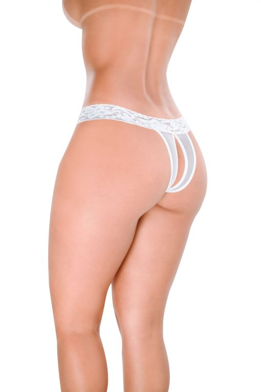 HT004B Thong Crotchless Desire color White by Hot Flowers