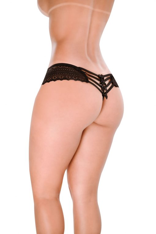 HT007P Thong Feel Like color Black by Hot Flowers