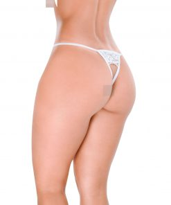 HT008B Crotchless G-String Bold White Hot Flowers