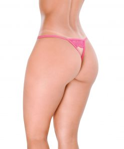 HT008PK Crotchless G-String Bold Pink Hot Flowers