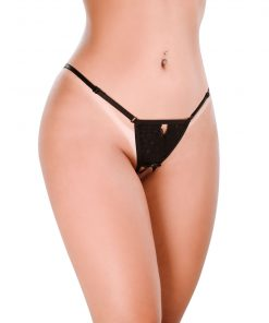 HT008P Crotchless G-String Bold Black Hot Flowers