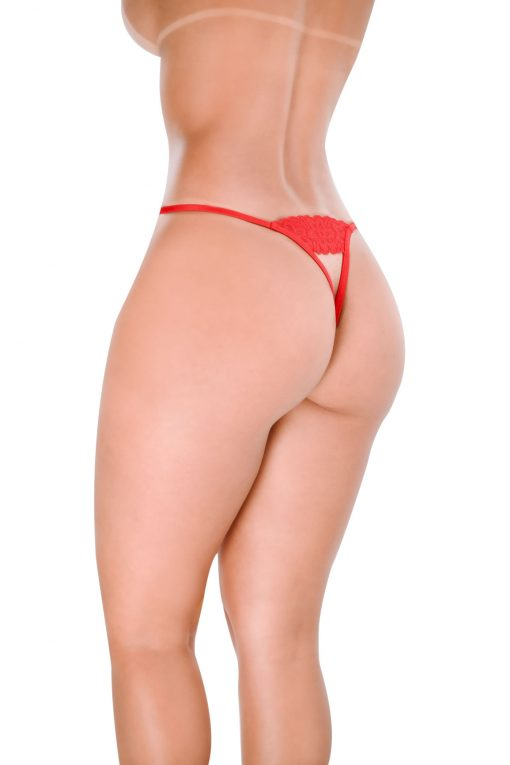 HT008V Crotchless G-String Bold Red Hot Flowers