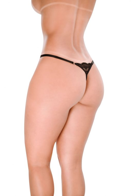 HT017P G-String Sexy Black by Hot Flowers
