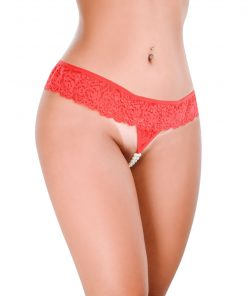 Crotchless G-String Pearls of Desire Red by Hot Flowers