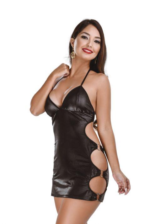 HF015P Bondage Dress Black Hot Flowers